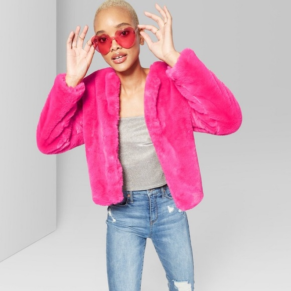 a466666be67  new  Hot Pink Faux Fur Jacket